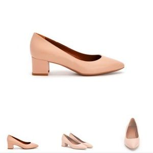 Aquatalia Nude Almond Toe Block Heel Pumps